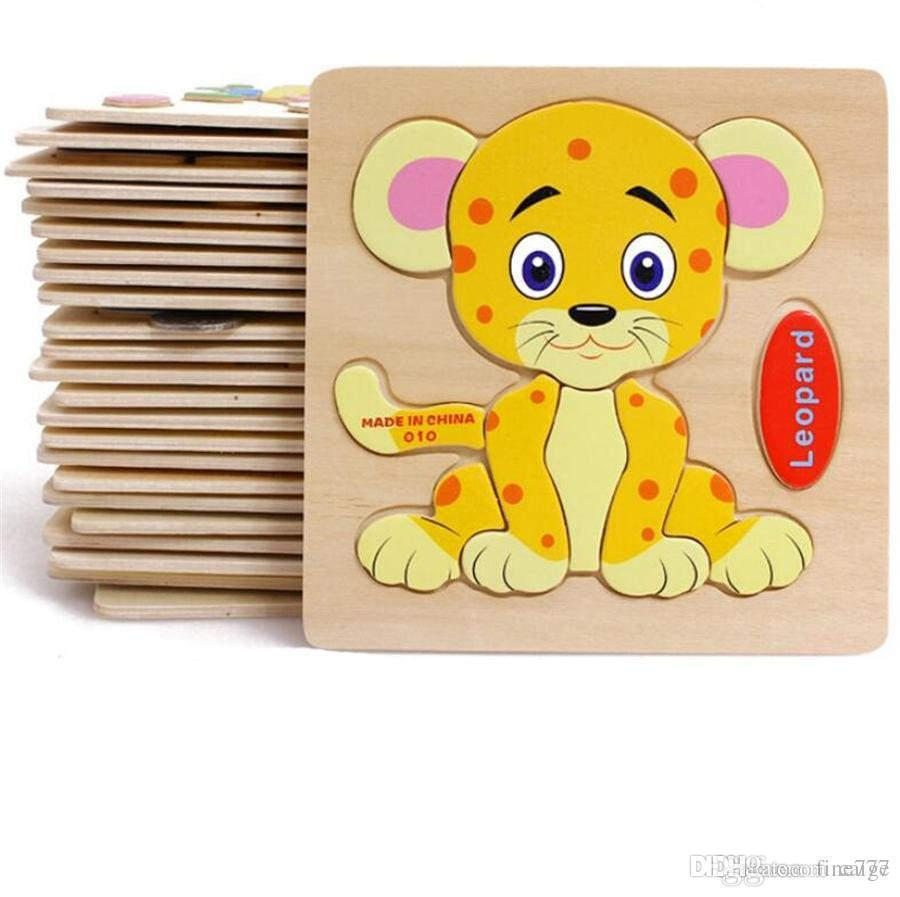 Baby 3D Wooden Puzzles Educational Toys For Child Building Blocks Wood Toy Jigsaw Craft Animals Free Shipping