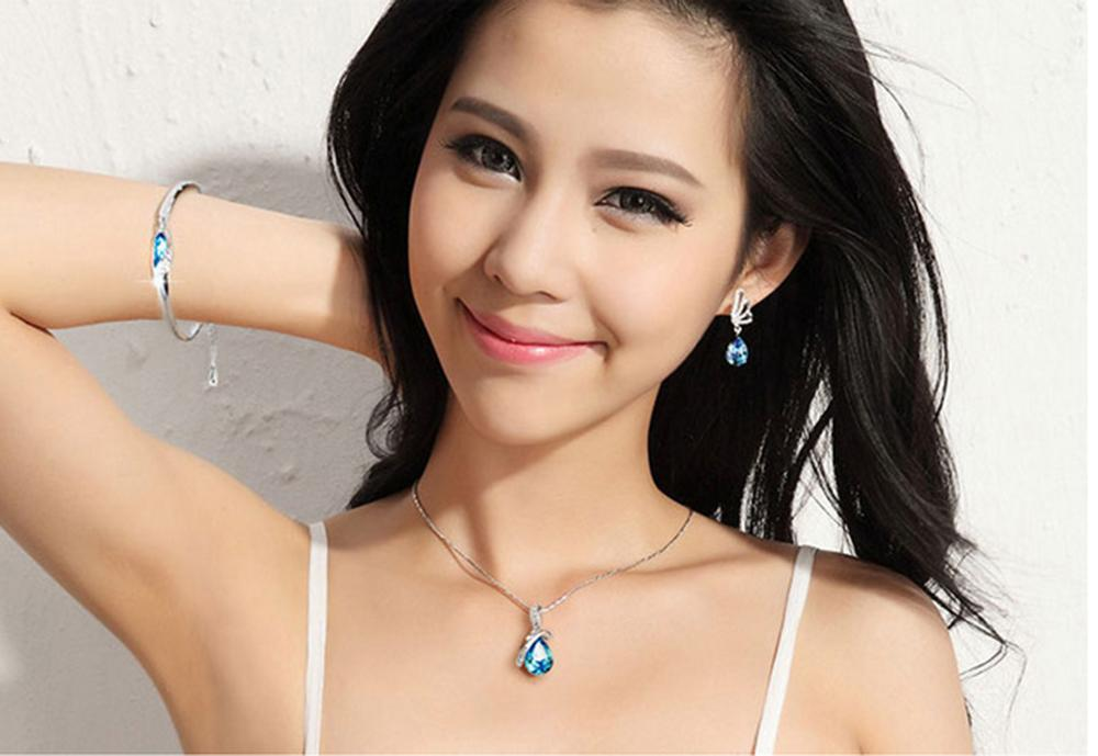 Rhinestone Crystal Jewelry Sets Angel Tears Bracelet, Earring & Necklace Sets The Clothing Jewelry Sets Gift For Women ps0694
