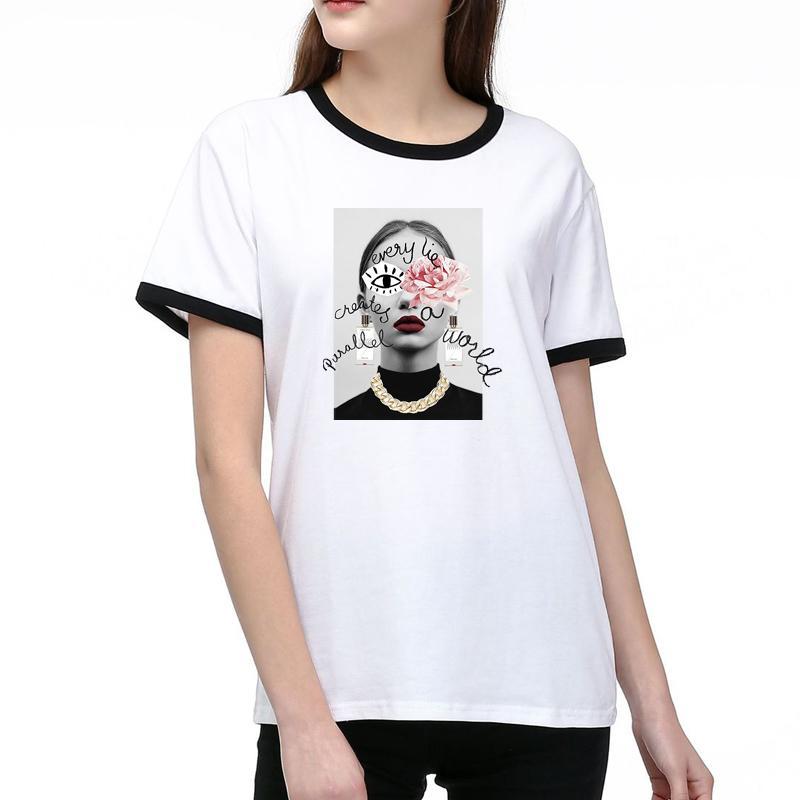 Kadınlar Tasarımcı T Shirt Yaz Moda Lady Tees Nefes Kısa Kollu Harf ve Kız Desen Baskılı Tişörtler Gömlek Yüksek Kalite Tops