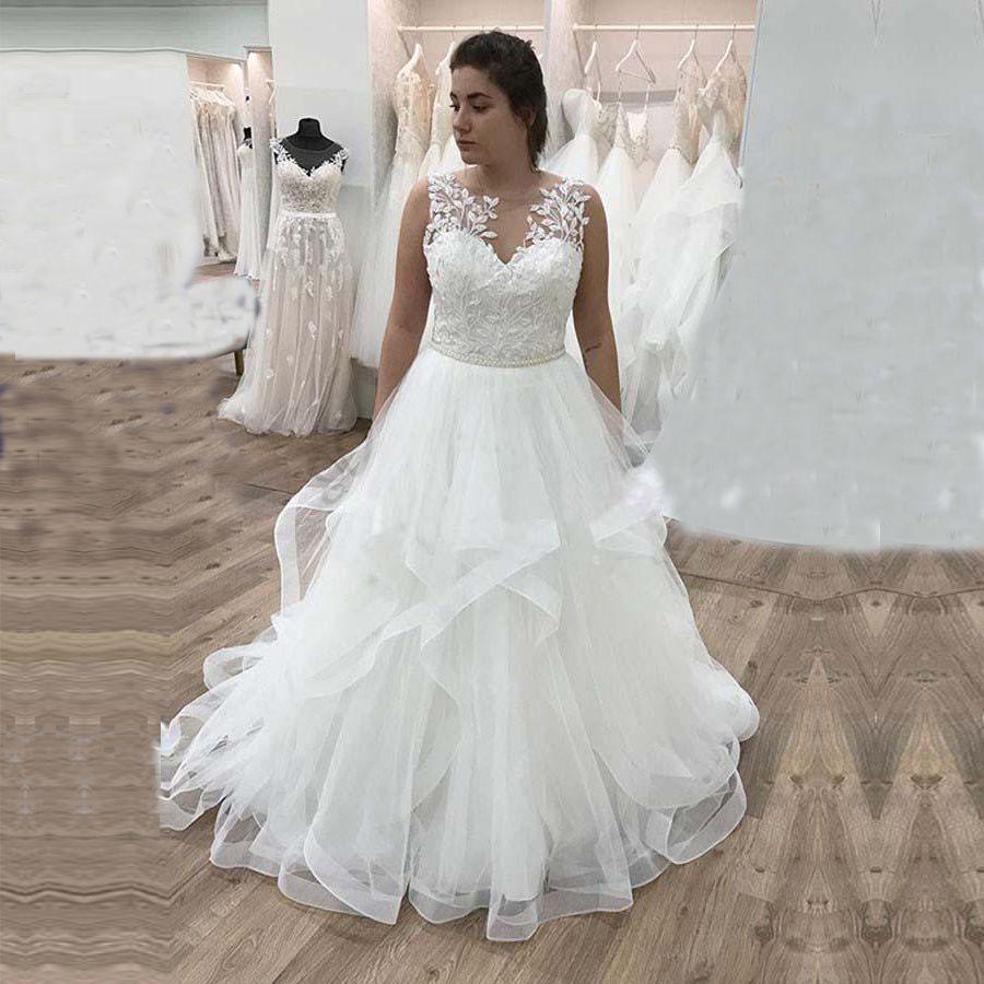 Mariage romantique taille des robes en dentelle Une ligne Tulle Appliques Robes de mariée col en V robe de mariée Custom Made