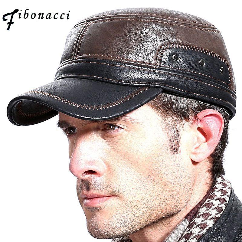 Fibonacci alta qualidade média dos homens com idade couro boné de beisebol adulto Patchwork flatcap ajustável outono inverno chapéus T200723