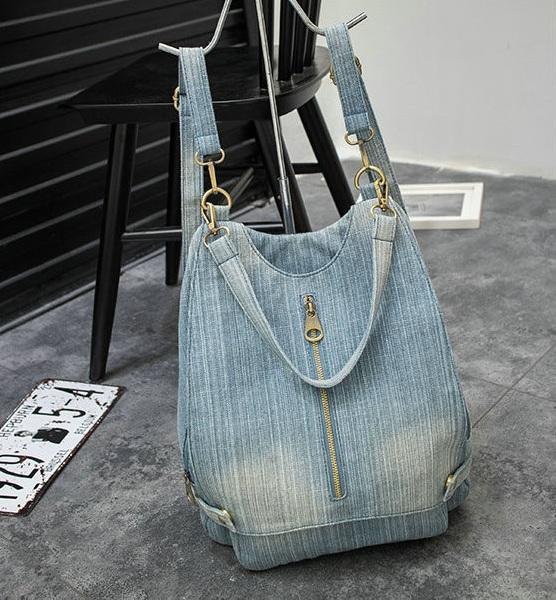Washed Denim Women backpack Big Jean multifunctional backpack female shoulder bag Casual Travel Bags Rucksack blue Mochila Bols