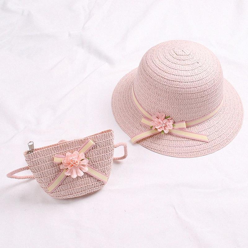 New Fashion Bebés Meninas Crianças Flor do verão Crianças Sun Adumbral Straw Hat Praia Cap caçoa o presente QDg7 #