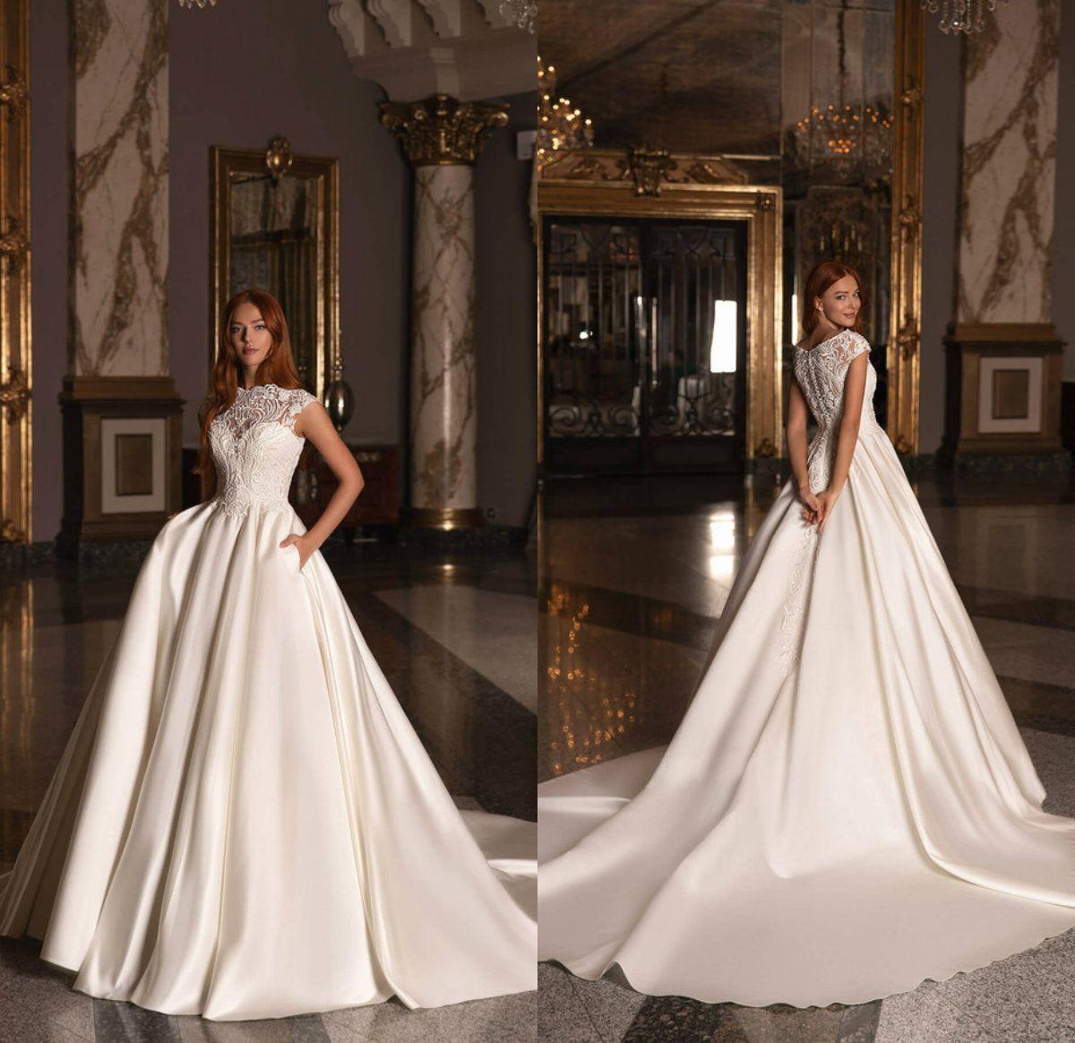 Wona 2021 de raso una línea de vestidos de novia de encaje apliques de cuello alto vestido de novia de la boda vestido de Boho Modest Vestidos de novia