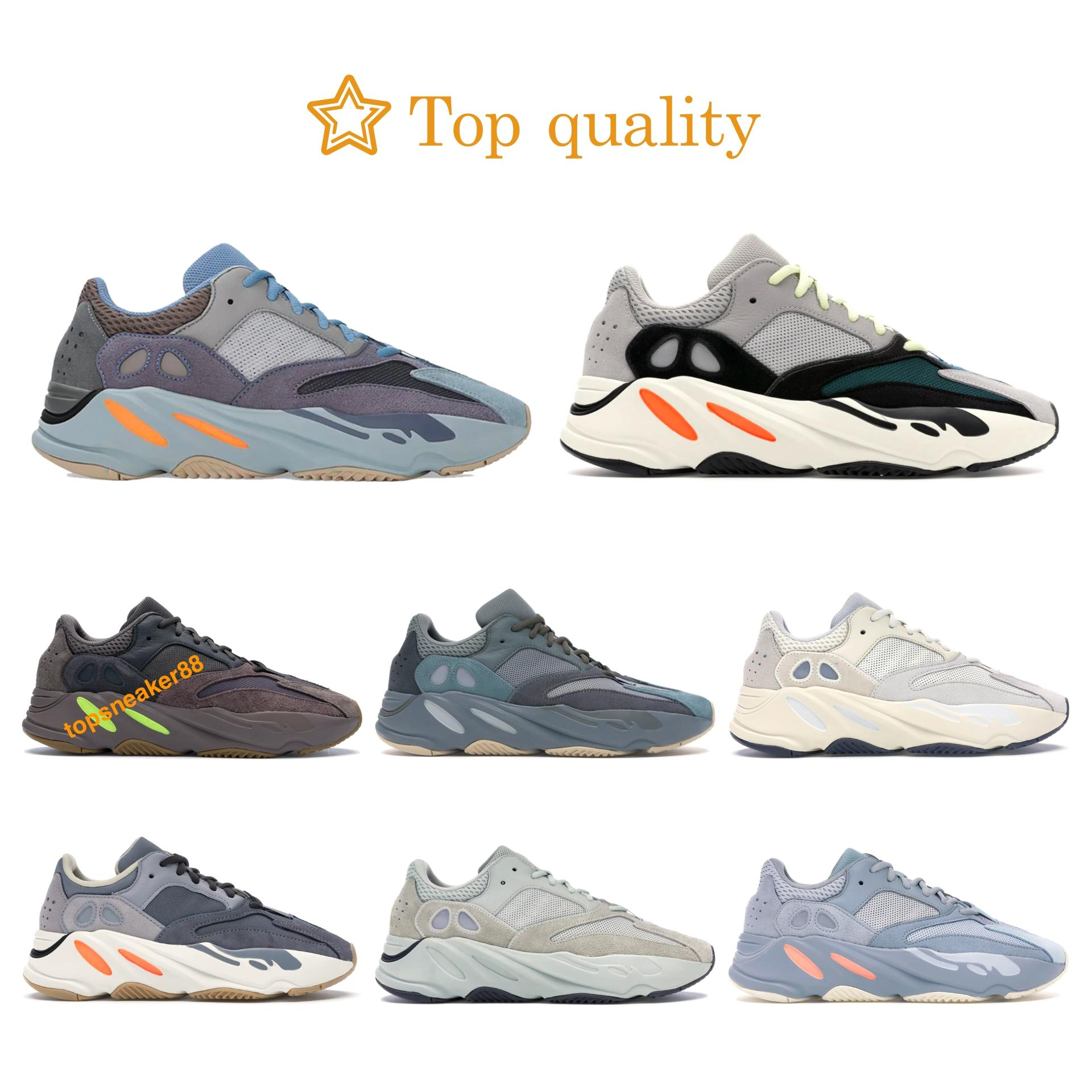Boost 700 Wave Runner Solid Grey Kanye West YZY700 Running Shoes carbono Imán azul analógico inercia Wave Runner gris sólido de color de malva