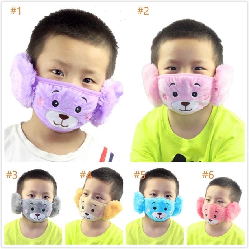 Niedźwiedź ochronny Haft Dzieci 2 w 1 ucho Maska Winter Ciepła PM2.5 Anti Dust Face Maski Dzieci Party Prezenty