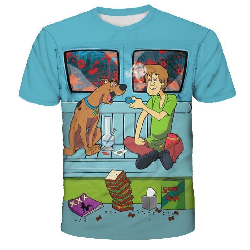 3D impressão da camisa do cão T dos desenhos animados para as Mulheres Homens Hoodies / camisola de manga curta Casual T-shirt Dropshipping