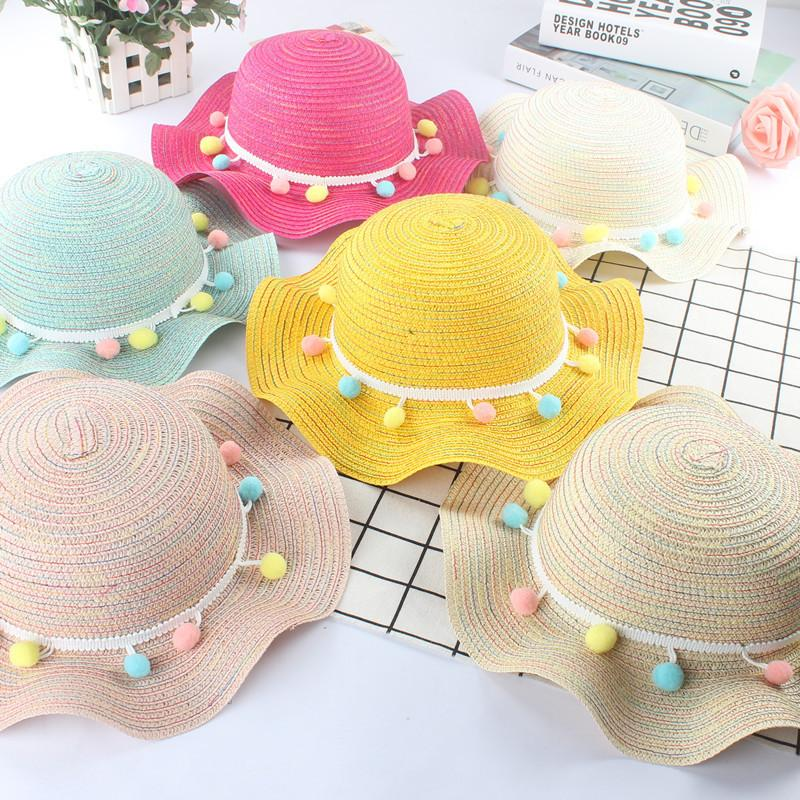 Summer Kids Straw Hats Cute Pompom Sun Visor Caps Baby Photography Props Girls Summer Beach Hat Baby Sun Hat Casquette Enfant T200720