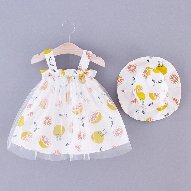 платье принцесса девушка малышей ребёнковы рукава Лимонная Печать Тюль принцесса Suspender платье + Hat ребенок девочка платье партии для девочек LFU1 #