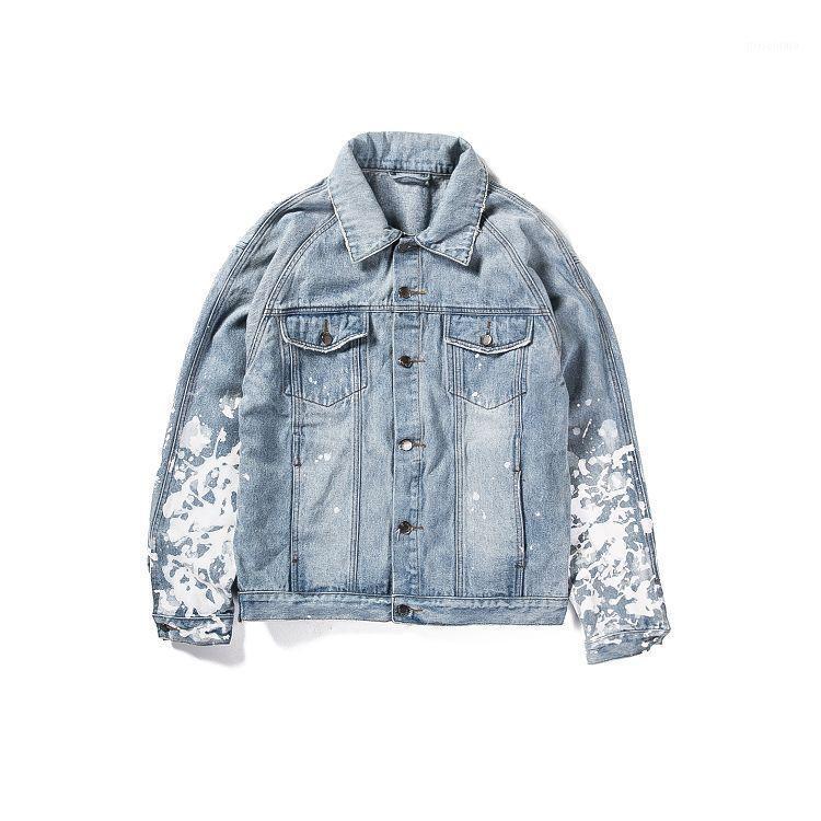 black fog street Brand Design Women Men Denim Oversized Denim Jeans Jackets Coat SPLATTER JACKET - BLUE black j02#1