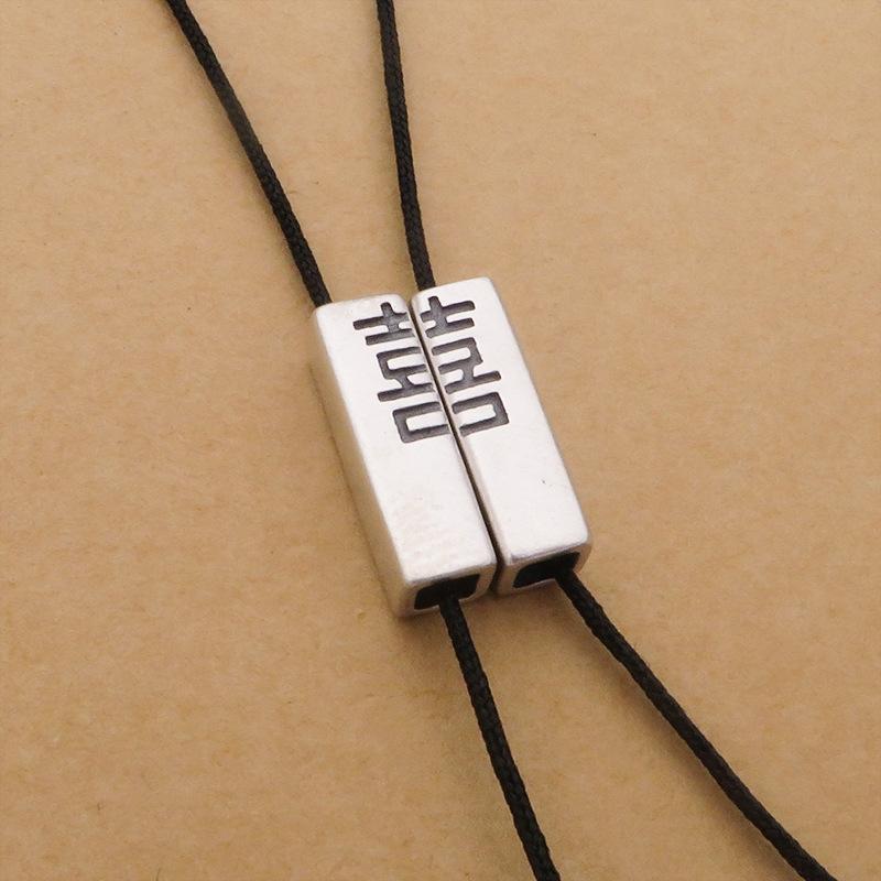 VfycW S925 prata Seiko Double Happy prata talão tubo quadrado DIY DIY tecidos acessórios corda artesanal corda trançada pulseira par de um
