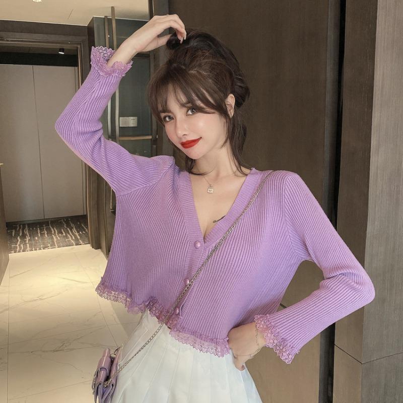 2020 New Summer Thin Korean Chic Lace Stitching All-match Short Cardigan Long Sleeve Sunscreen Knitted T-shirt Women