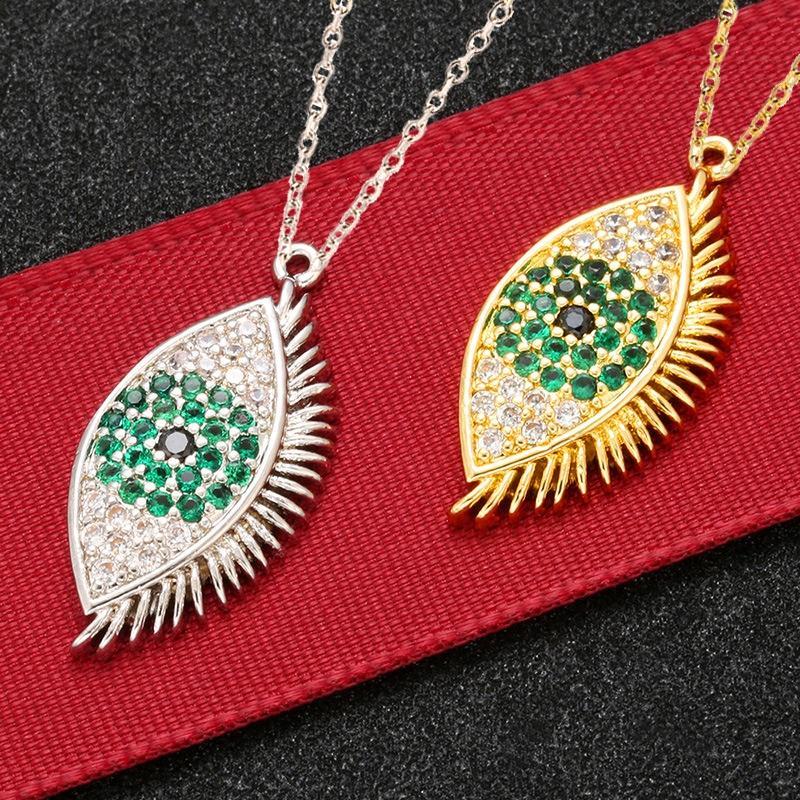 mulheres de luxo jóias de alta qualidade em latão banhado a ouro mal-olhos pavimentar inlay colorido colar de zircão pendente