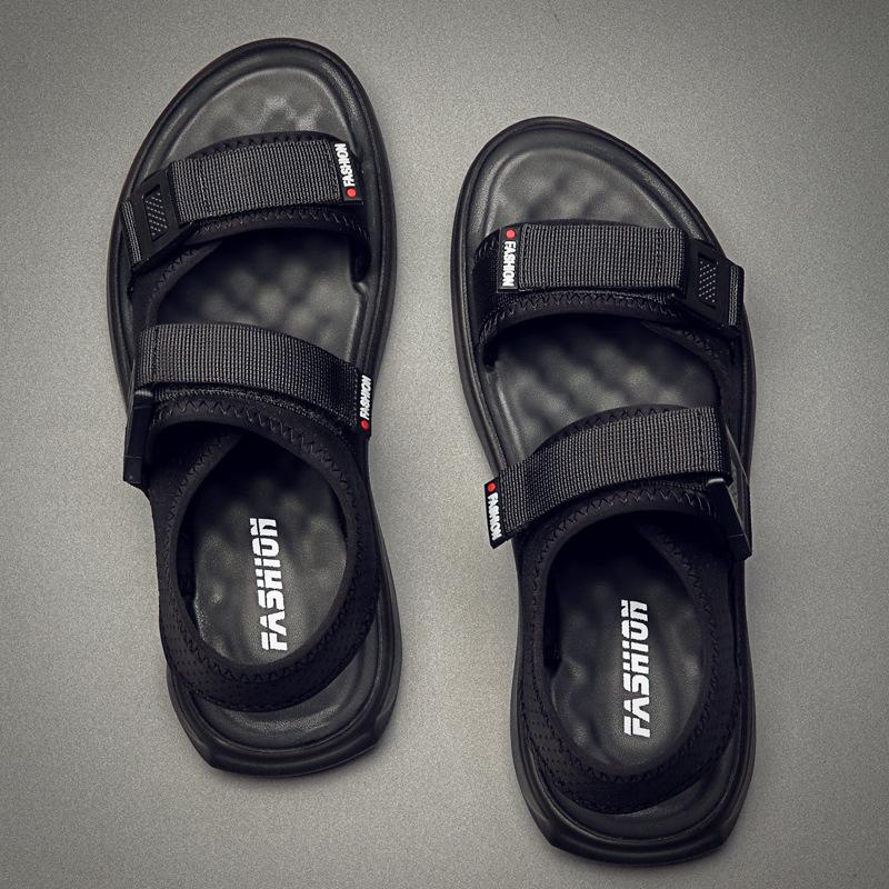 Sandals Men Summer Shoes 2020 Holiday Beach Sandals Flat Thick Sole Non-slip Ins Fashion Brand Male Shoes Black KA1274 MX200617