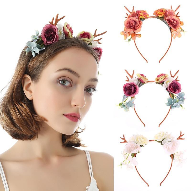 5pcs / Bandas Lot Europa Hot venda de cabelo Rose Antler noiva Flor colorida Headbands para as Mulheres Cabelo casamento plástico Atacado Jóias