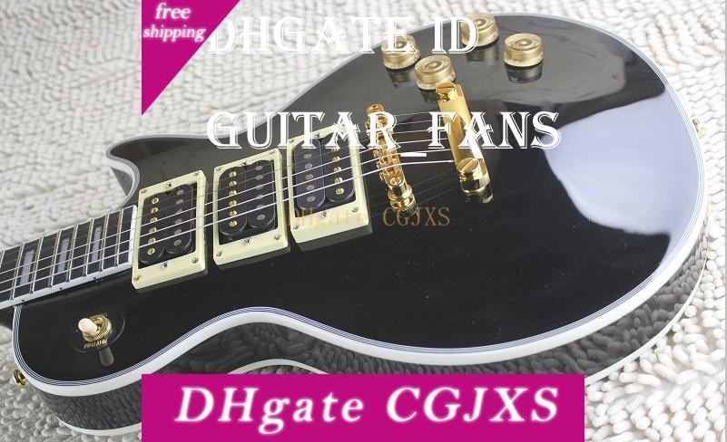 Hot Sale Custom Peter Frampton Signature Ebony Fingerboard Electric Guitar ,Gold Hardware 3 Pickups Black China Guitar Factory Direct