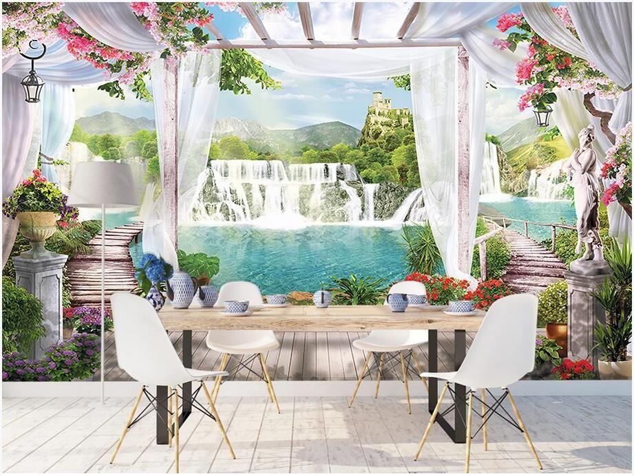 3D Wallpaper individuelle Fototapete Schöner Wasserfall Feenland Balkon Hintergrund Wand Hauptdekor Wandmalereien Tapete für Wände 3 d