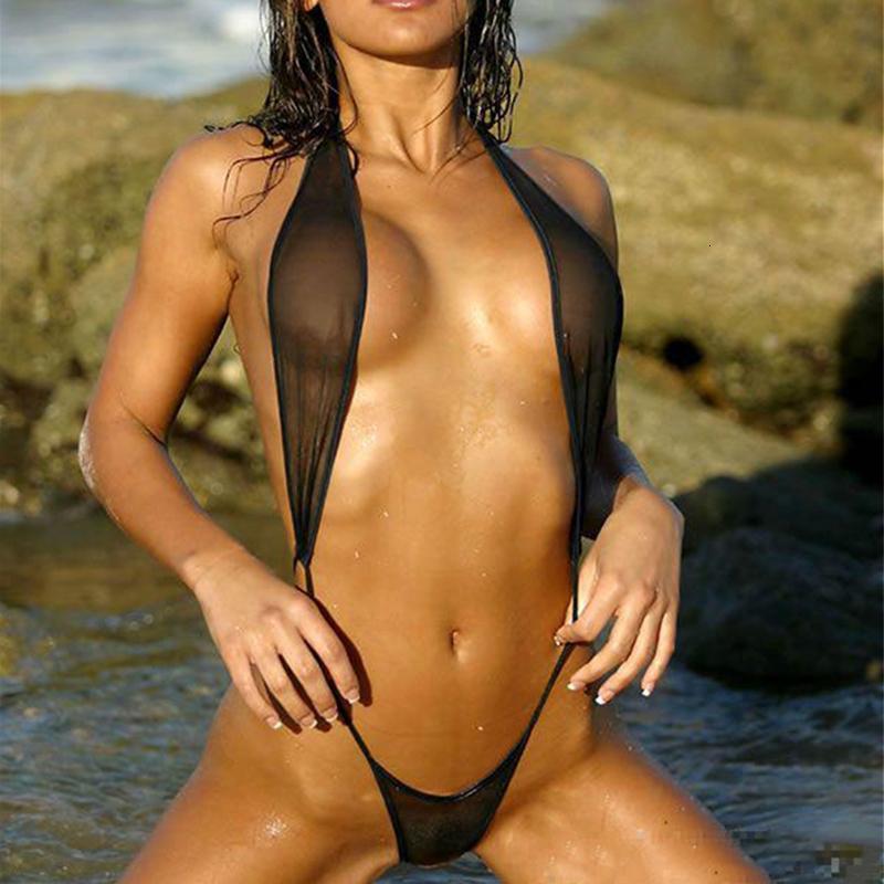 Ver a través de malla Micro Bikini de nadada de la playa de la ropa interior del traje de baño femenino extremo Sexo atractivo de las mujeres de la G Secuencia de la catapulta Teeny traje de baño