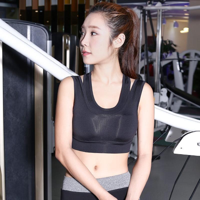 Stoßfeste nicht-Stahlring Yoga mit Brust-Unterwäsche-Weste-Weste-Pad im Freien läuft schnell trocknend atmungsaktiv gefälschten zweiteiligen Sport-BH