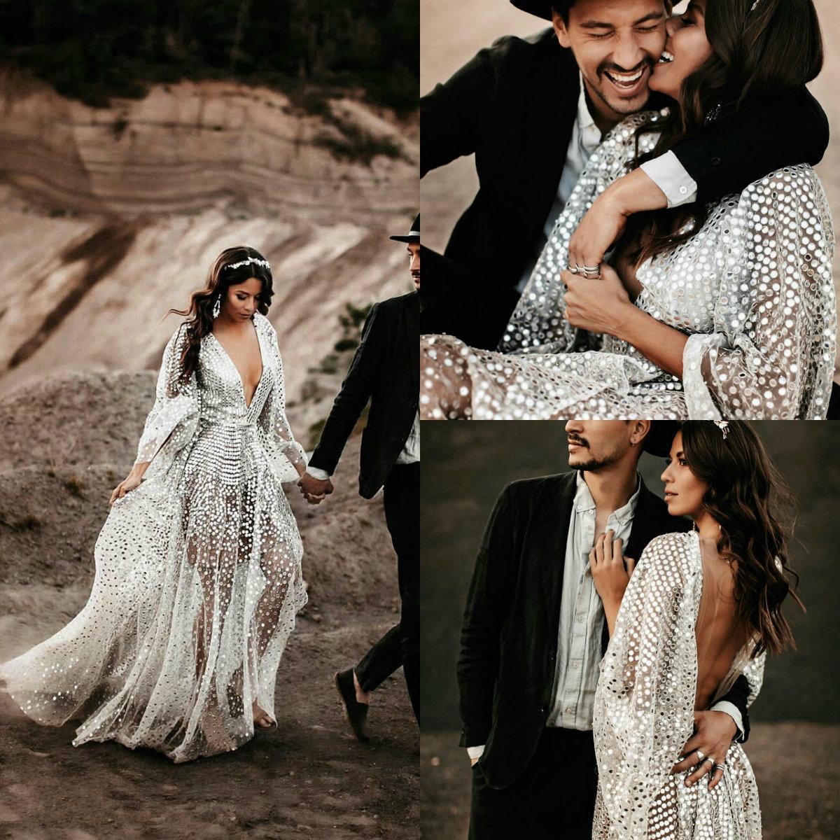 Новый артистический Свадебные платья Глубокий V шеи Блестки шнурка Backless линия Boho свадебное платье сшитое Плюс Размер Свадебные платья