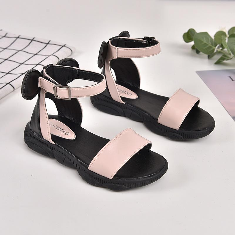 2019 Kids Girls Summer Shoe Little Girls Sandals Leather Big Children BOW Princess Beach Sandals 3 4 5 6 7 8 9 10 11 12 Year Old Y200619