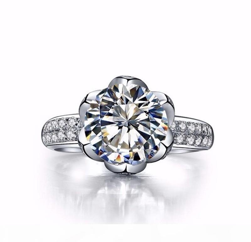 U U-Diamant-Ring Original-925 Sterlingsilber-Hochzeitsringe für Frauen Romantische Blumen geformt Inlay 3 Carat Cz Diamant-Verlobungsring W