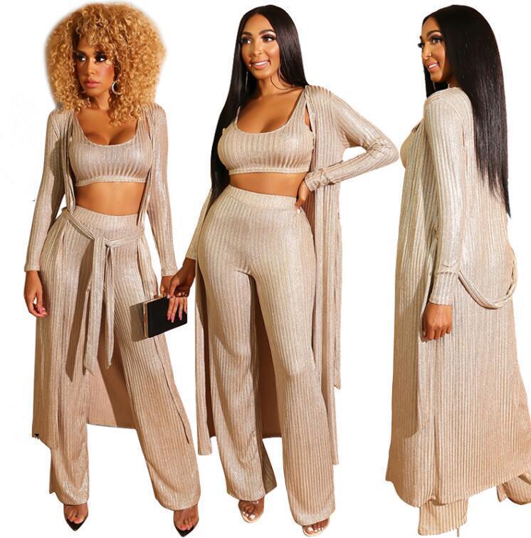3PCS Suits Winter Women Gold Plus Size Three Piece Set Casual Bra Top Lace Up Straight Leg Pants Full Sleeve Long Cloak Sahes