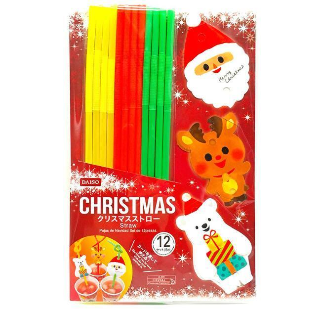Noël en plastique de paille potable Père Noël ours polaire motif Elk Pailles pour les fournitures de Noël Party Decoration