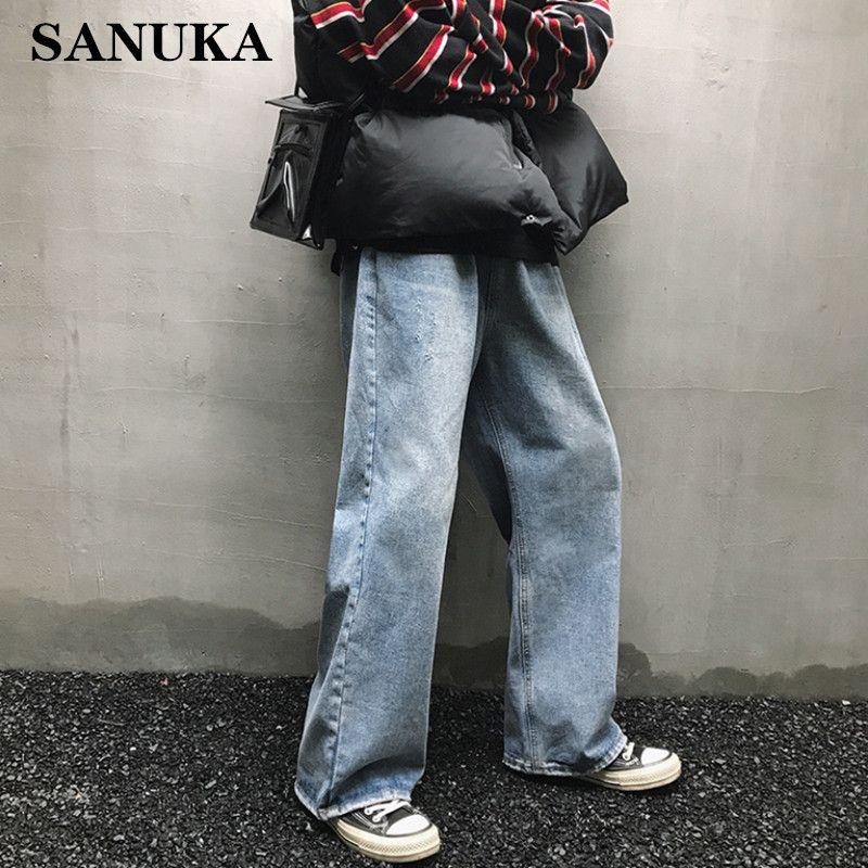 Men Korean Fashions High Wasit Jeans 2020 Hip Hop Vintage Straight Harajuku Harem Pants Blue Streetwear Denim Couple pants
