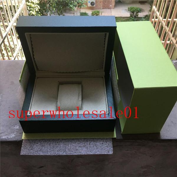 Libre reloj de lujo del Mens tarjeta para el reloj original de la caja interior exterior Womans Relojes Cajas de reloj de los hombres verde caja manual 806