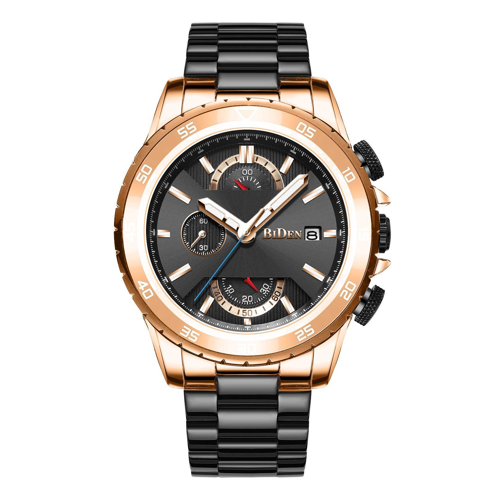 Brand New Mens-Sport-Quarz-Uhr-beiläufige Geschäfts Chronograph Stahl-Gurt-Uhr