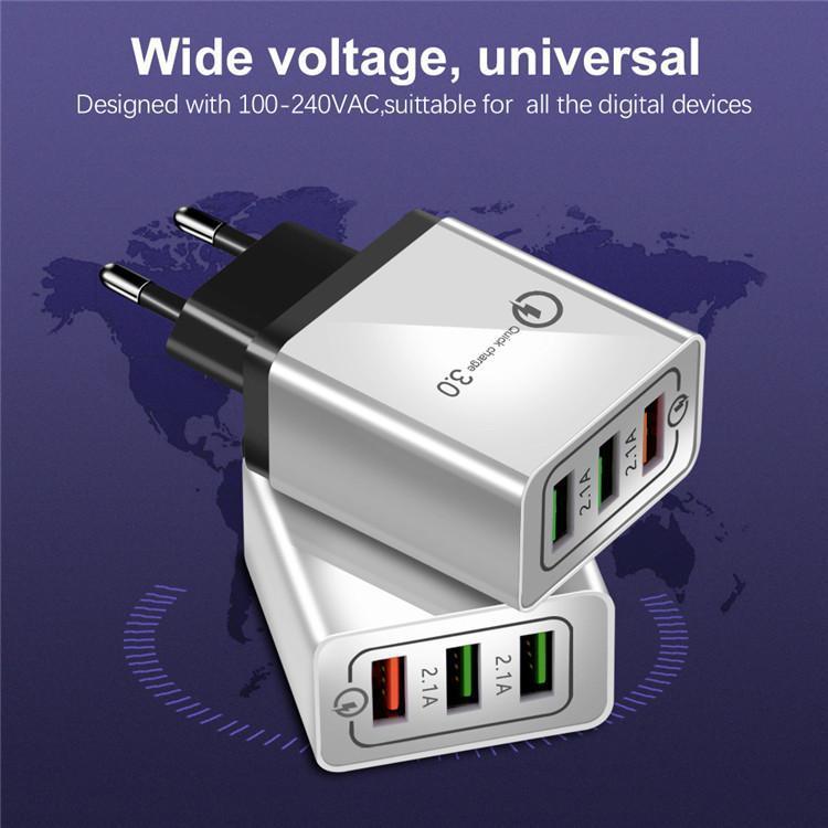 Estados Unidos Puerto 3 de carga rápida de la UE Adaptador de enchufe cargador de pared móvil del teléfono celular QC3.0 USB de la UE