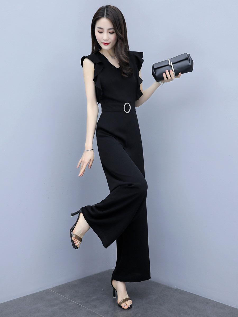 Preto Senhora elegante escritório Sólidos Ruffle mangas Rompers Verão Vestuário Mulheres Macacões macacão preto