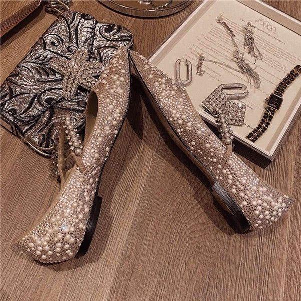 2020 Moda Klasik Kadın Düz ayakkabılar Buzağı Deri Keçi Cilt Kristal Metal Jimmy Düz Sığ ağız Kristal Düğün Ayakkabı 34-40