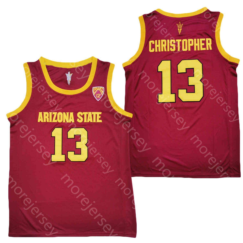 새로운 2020 애리조나 주 태양 악마 ASU 농구 저지 NCAA 대학 13 Caleb Christopher Red White 모든 스티치 및 자수