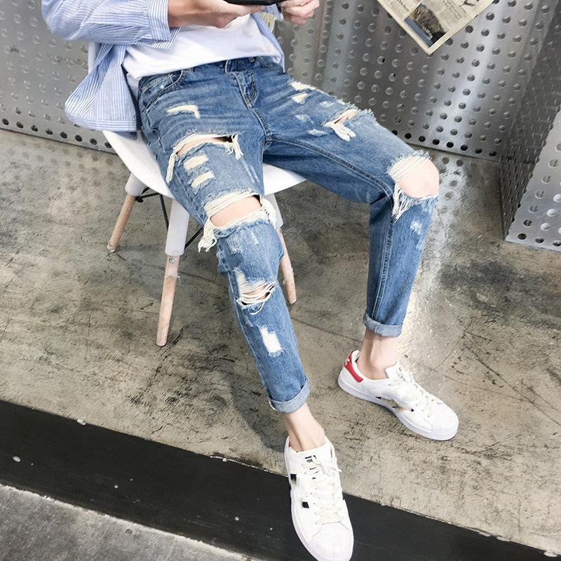 Januarysnow Marke Designer 2020 Distressed Beggar Jeans Male Riesen zerrissene Loch Stattliche männliche Füße Hip Hop Streetweat Cowboy Haremshosen Männer