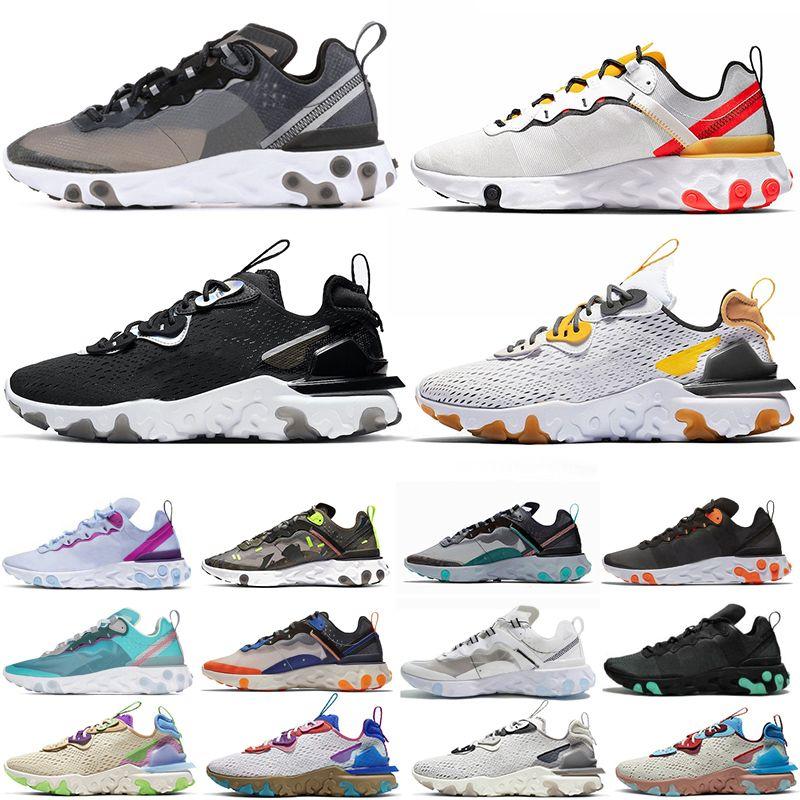 Nike react element 87 Koşu Ayakkabıları T728N siyah beyaz atletik açık Spor Koşu ayakkabı eğitmen hız kadın sneakers
