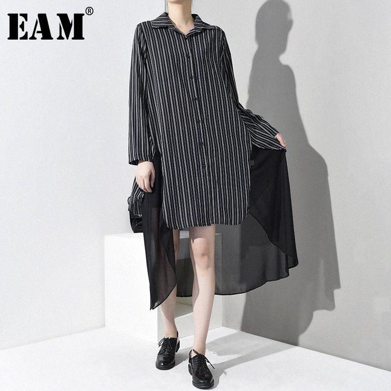 [EAM] 2020 Nouveau Automne Hiver manches longues revers à rayures noires en mousseline de soie imprimé point Taille Big Shirt Femme Chemisier Mode # JO3500 puvK