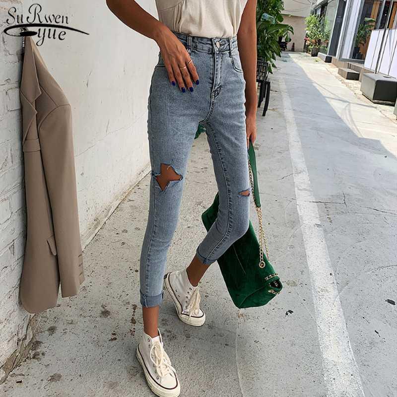 Тощий Синий Корейский хлопок Урожай Тонкий Прохладный Denim брюки осень высокой талией джинсы Мода Hole рваные джинсы Женщина 10416
