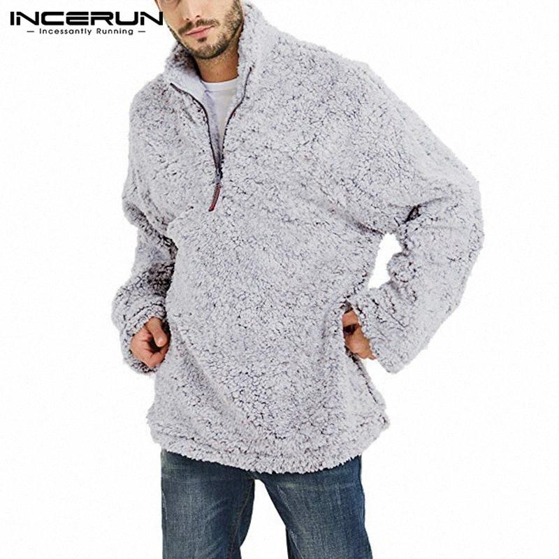 Homens Outono-Inverno Quente manga comprida Sólidos Collar camisola Lazer Diário Selvagem Zipper Furry Mens Pullover Masculino 5XL CDhX #