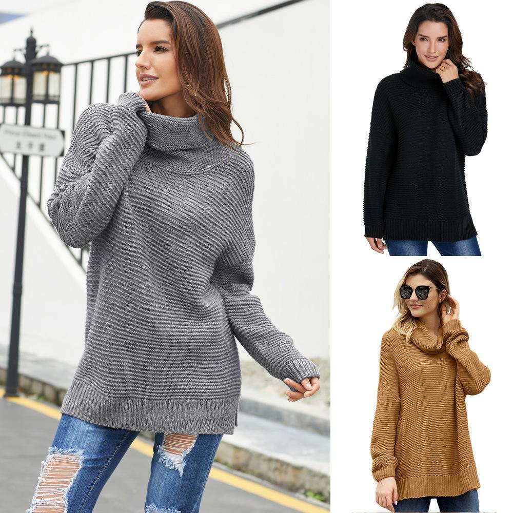 Shiying de Europa y América Nuevo color sólido del cuello alto de punto de manga larga Hem de Split Pullover Melena mediana suéter 27930