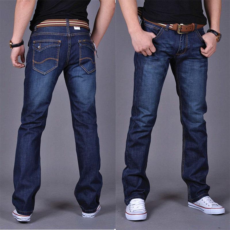 Jeans Mens diritti classici dei jeans denim con i pantaloni a pieghe Cerniere Slim Blu Nero Jean Uomo Pantaloni lunghi graffiato