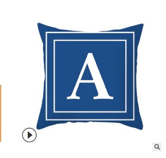2020 Productos para el hogar funda de almohada cojín de cuero de melocotón personalizada funda de almohada cintura cojín de 2020 Carta azul Inglés