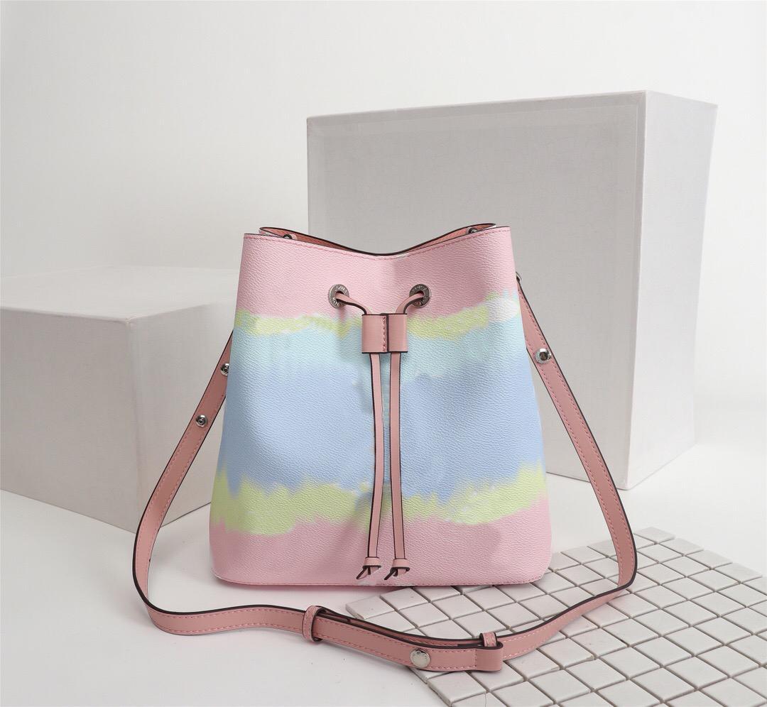 Сумки серии дизайн плеча дизайн сумки с кожаным ковшом сумка качественные известные эскалеты Néoooé женщин цветок высокая печать Crossbody WEVF