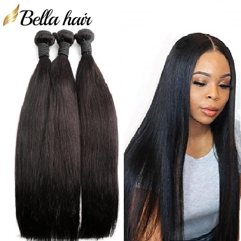 Bella cabelo não transformado trama de cabelo virgem extensões retas brasileiras peruanas peruanas malaias indianas pacotes duplamente cor natural cor 3 pcs