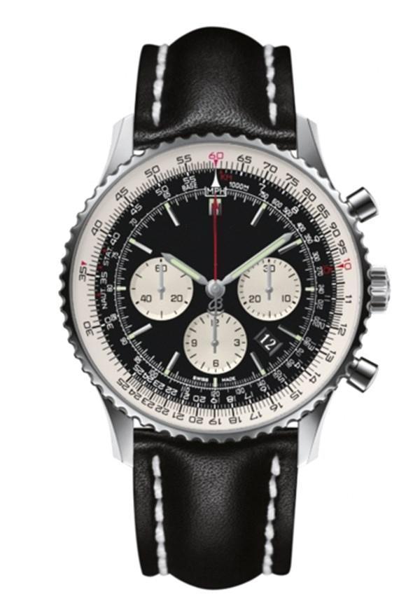Calidad superior del reloj para hombre de lujo navitimer 43mm diseñador del cuero genuino de la correa de los hombres de lujo automático Movimiento Mechnical Todo Dial trabajo Wris 26QN #