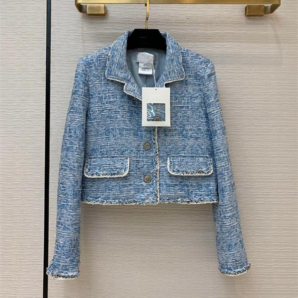 European and American women's clothing 2020 autumn new style Long - sleeved lapel single - breasted blue tweed coat