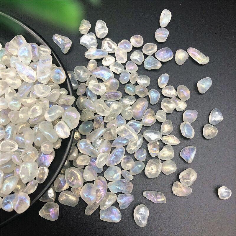 50g arco-íris Aura Titanium Branco Cristal de Quartzo Pedra Moonstone cascalhos Decoração Pedras da cura e Minerais