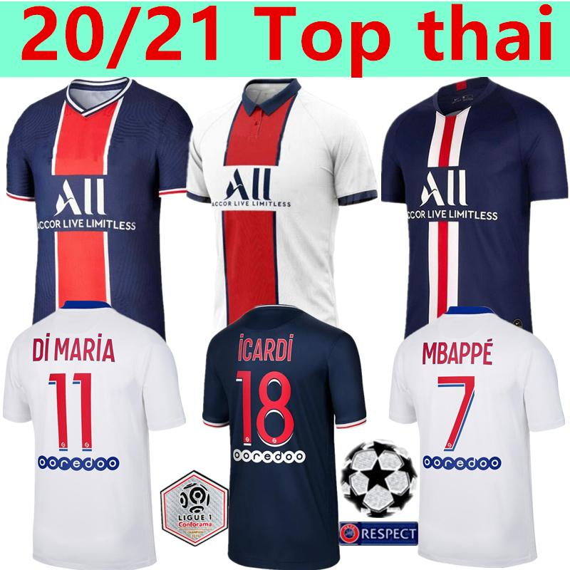 Мужские наборы 2019 2020 2021 Maillots де лапка 19 20 21 трикотажных изделий футбола ICARDI Париж MBAPPE Marquinhos GANA Camisetas футбол рубашка