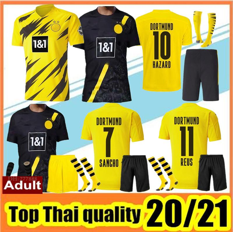 2020 2021TOP Качество Borussia Футбольные трикотажные изделия Kit 20 21 Reus Reus Haaland Sancho Jersey Футболка Мужчины Униформа комплект